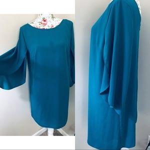 AB Studio blue open bell sleeve dress